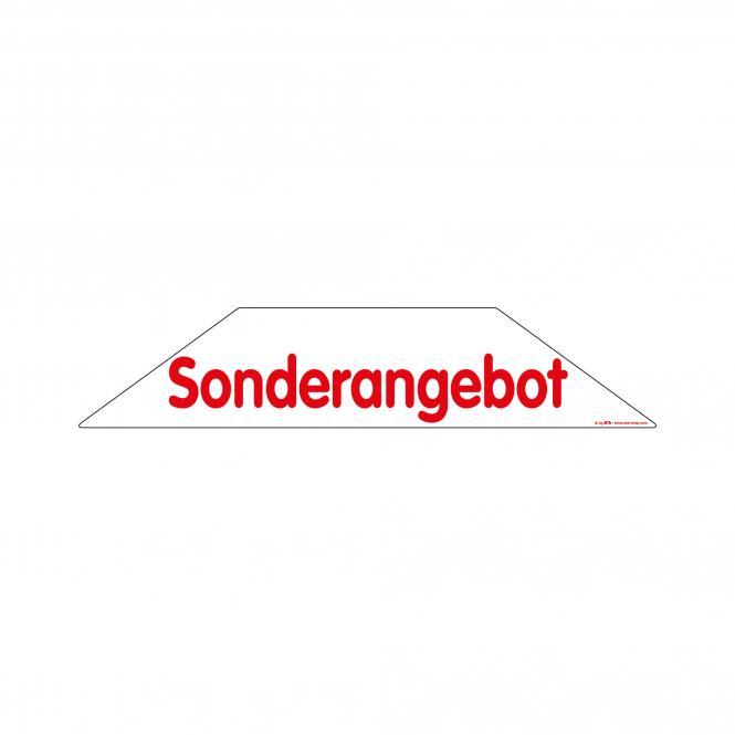Trapez-Sticker rot / weiß | Sonderangebot