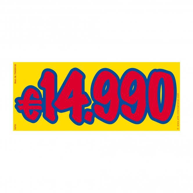 Preissticker rot / blau / gelb | € 14.990