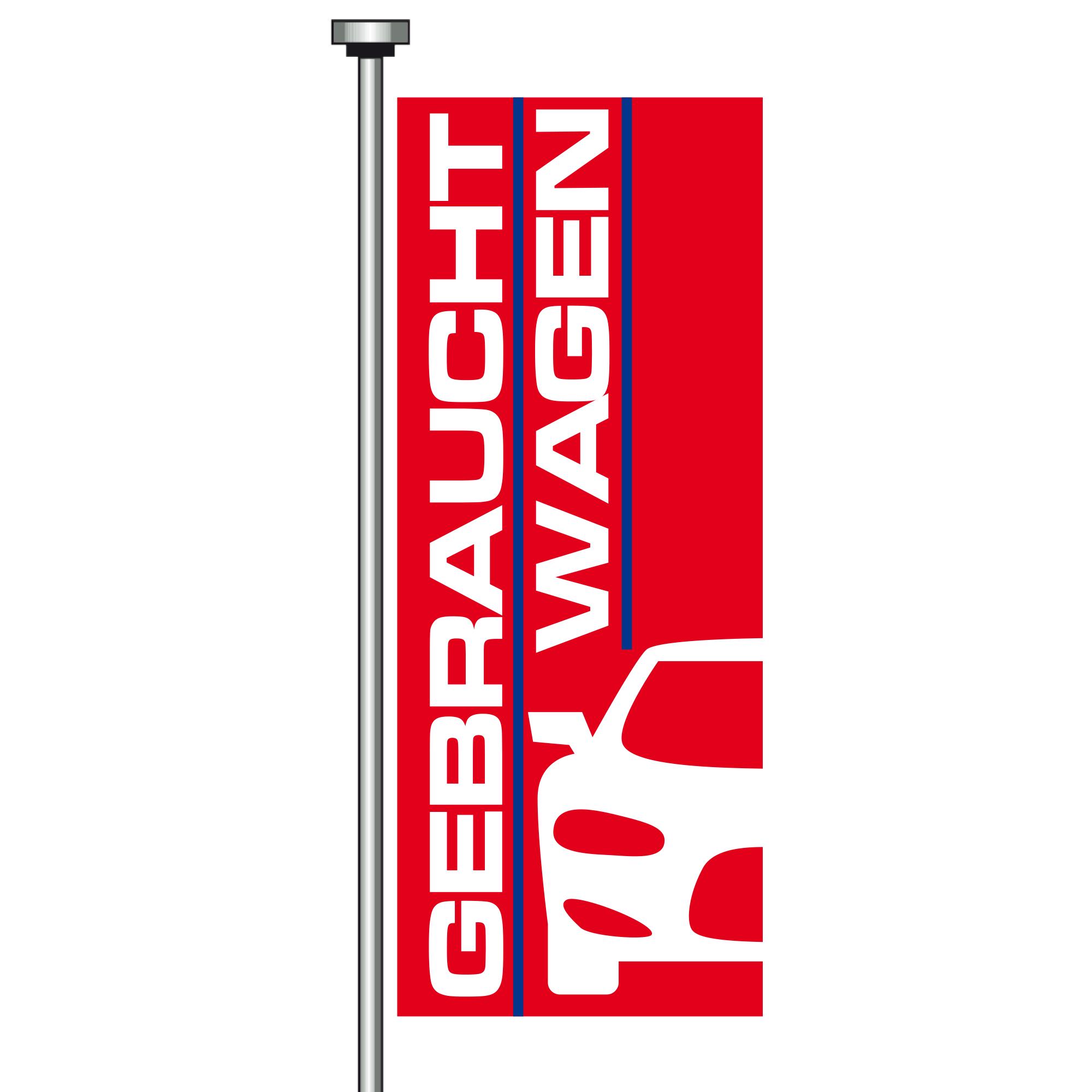 """Flag """"Gebrauchtwagen"""" red/blue"""