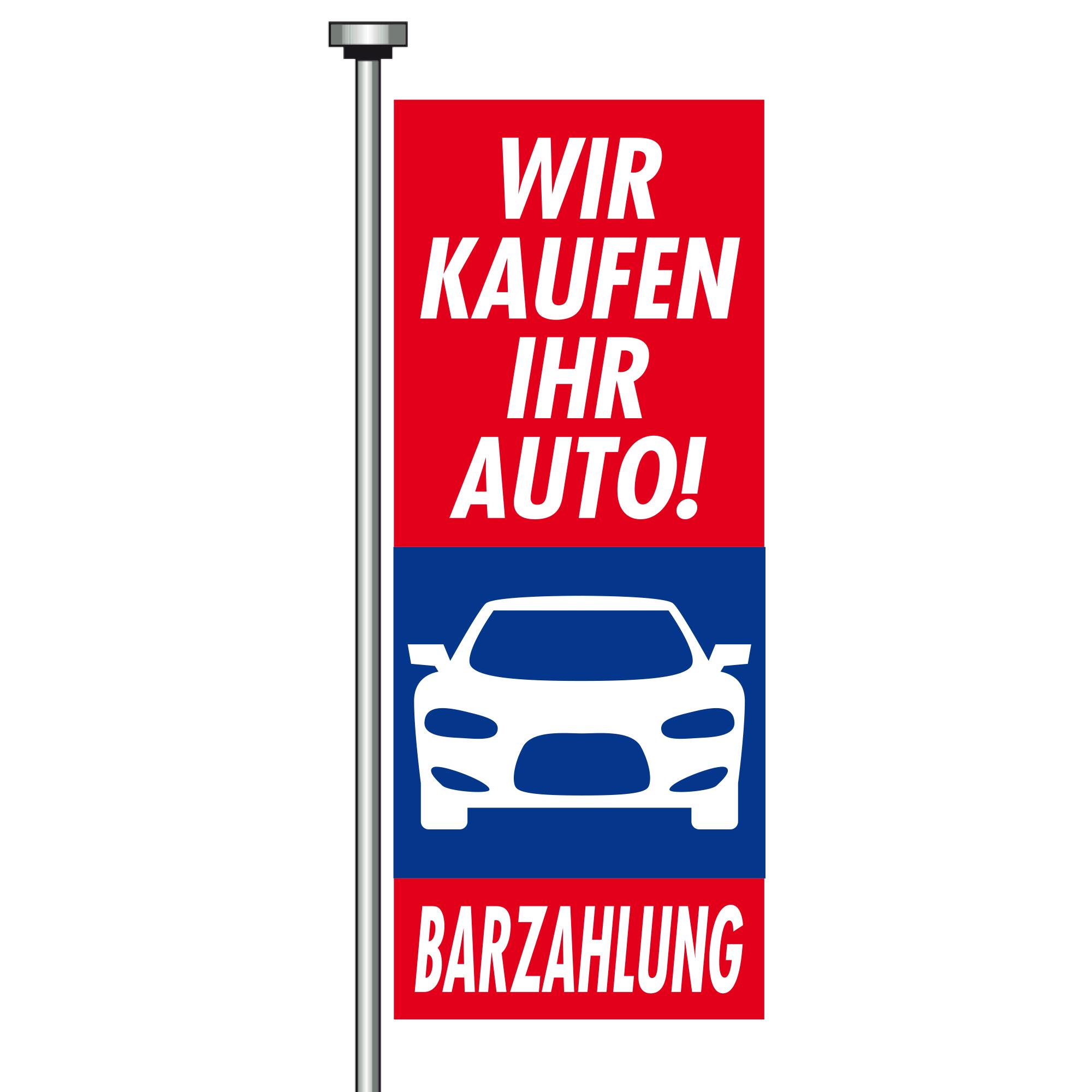 "Fahne ""Barzahlung"", 120 x 300 cm"