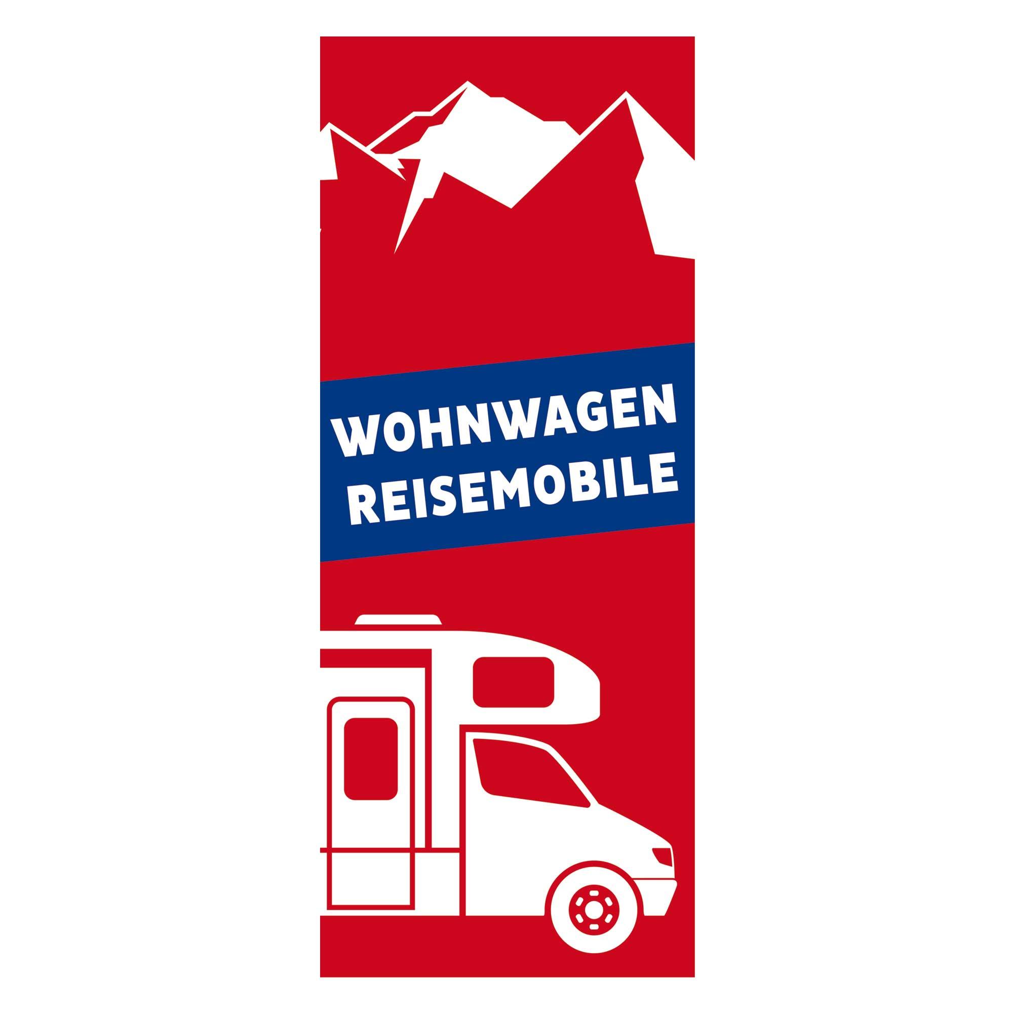 Fahne Wohnwagen & Reisemobile rot/blau