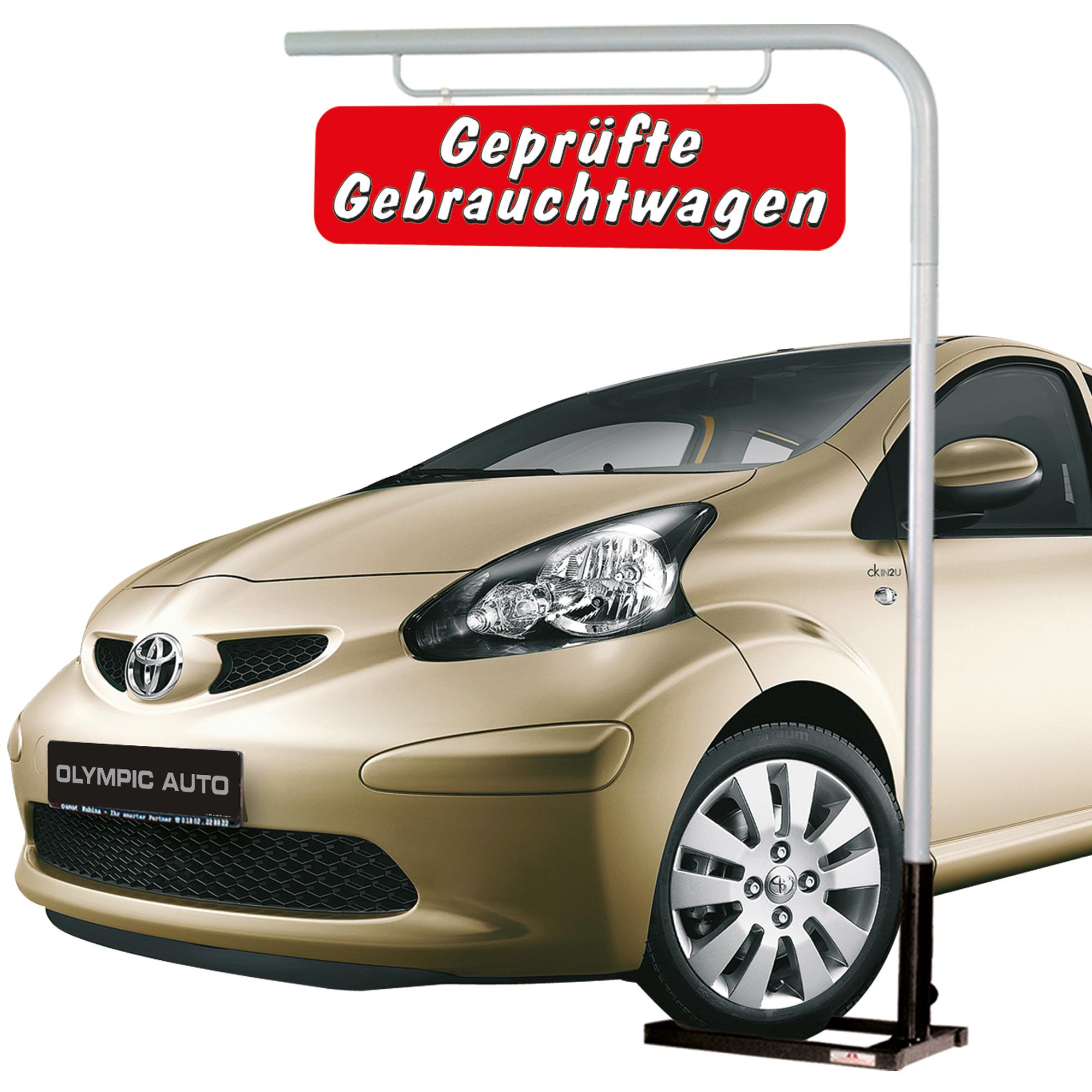 """Mobiler Hängeschildmast """"Geprüfte Gebrauchtwagen"""""""