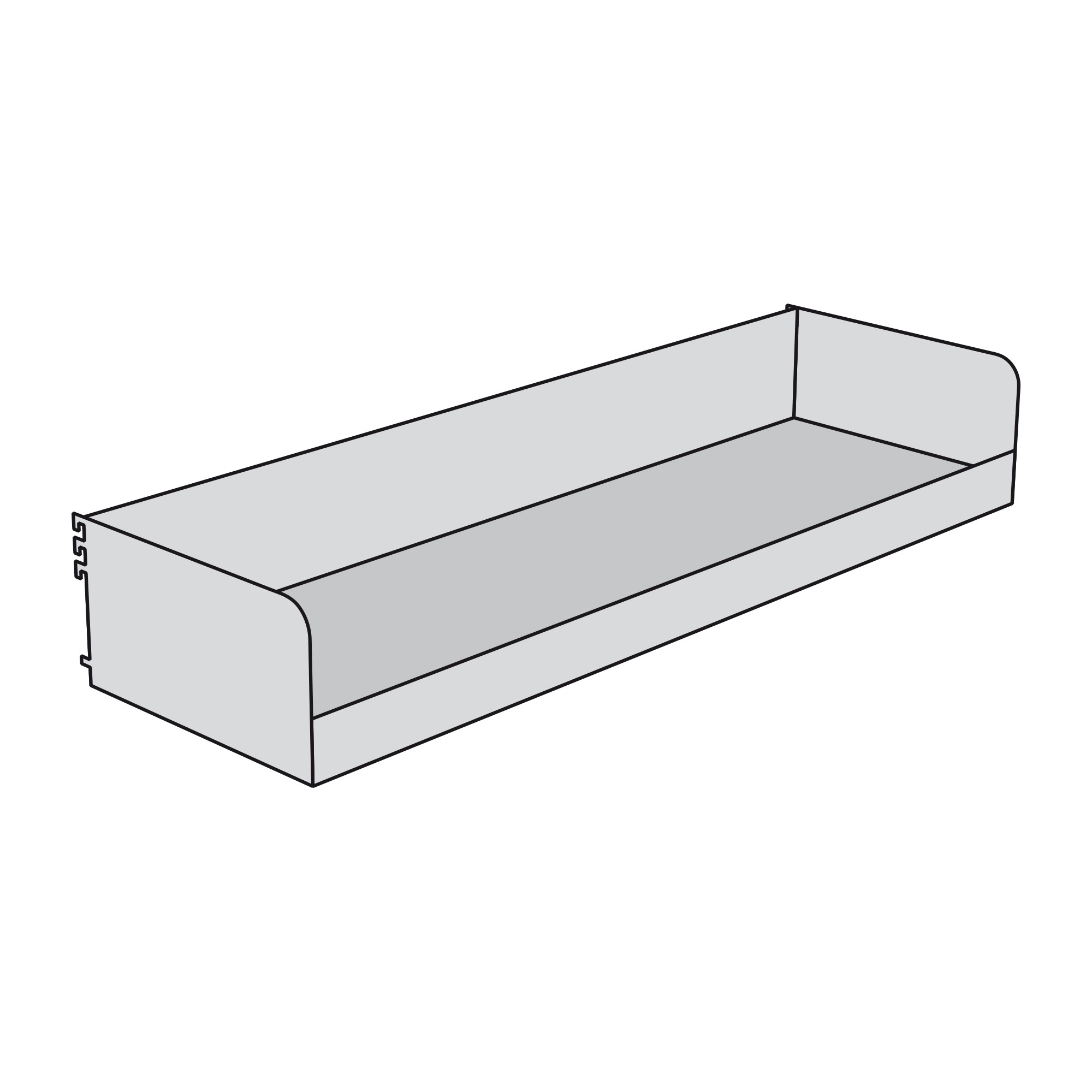 Fachkasten-Frontkante 60 mm hoch für Freiarm-Regal
