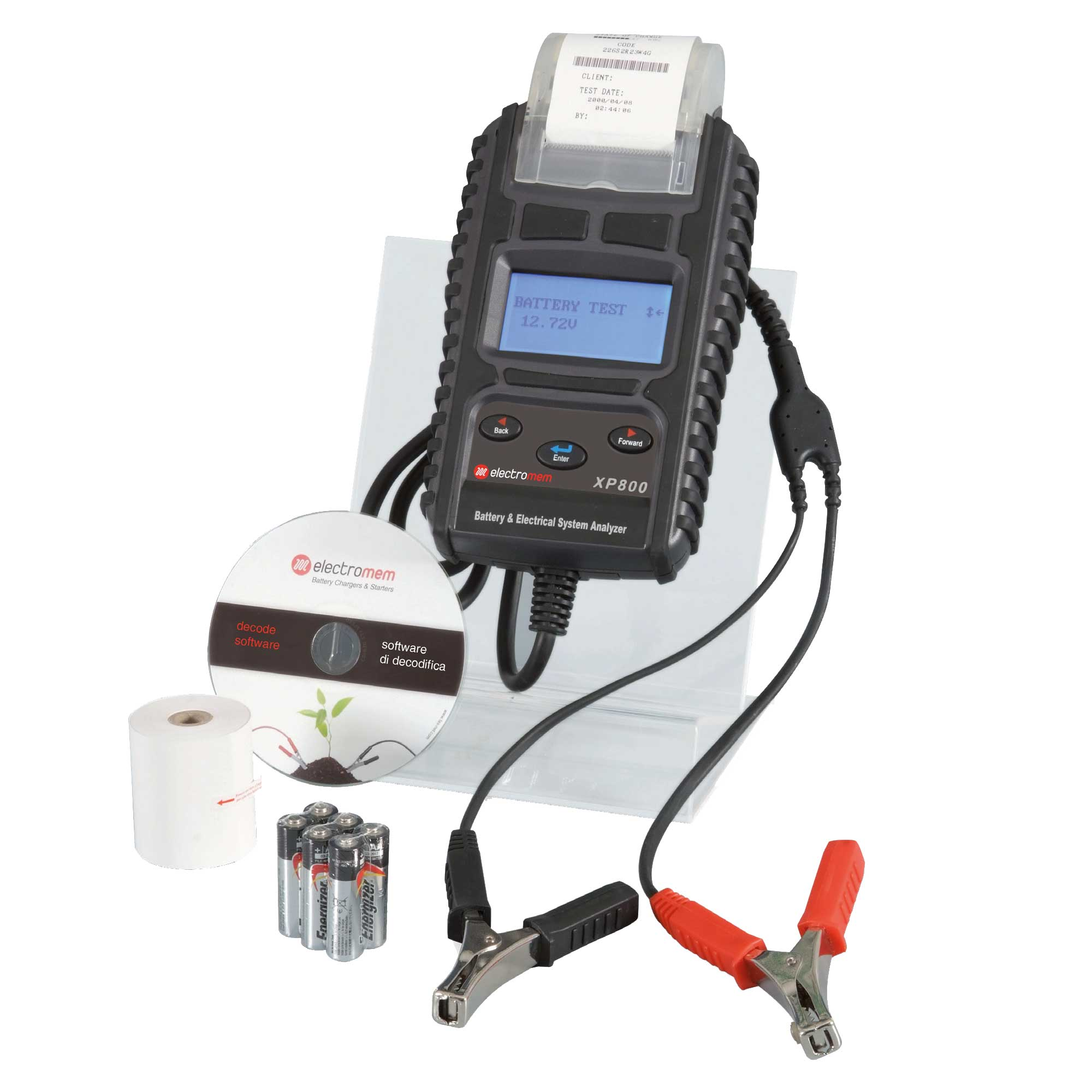 Batterietester, digital, mit Druckfunktion