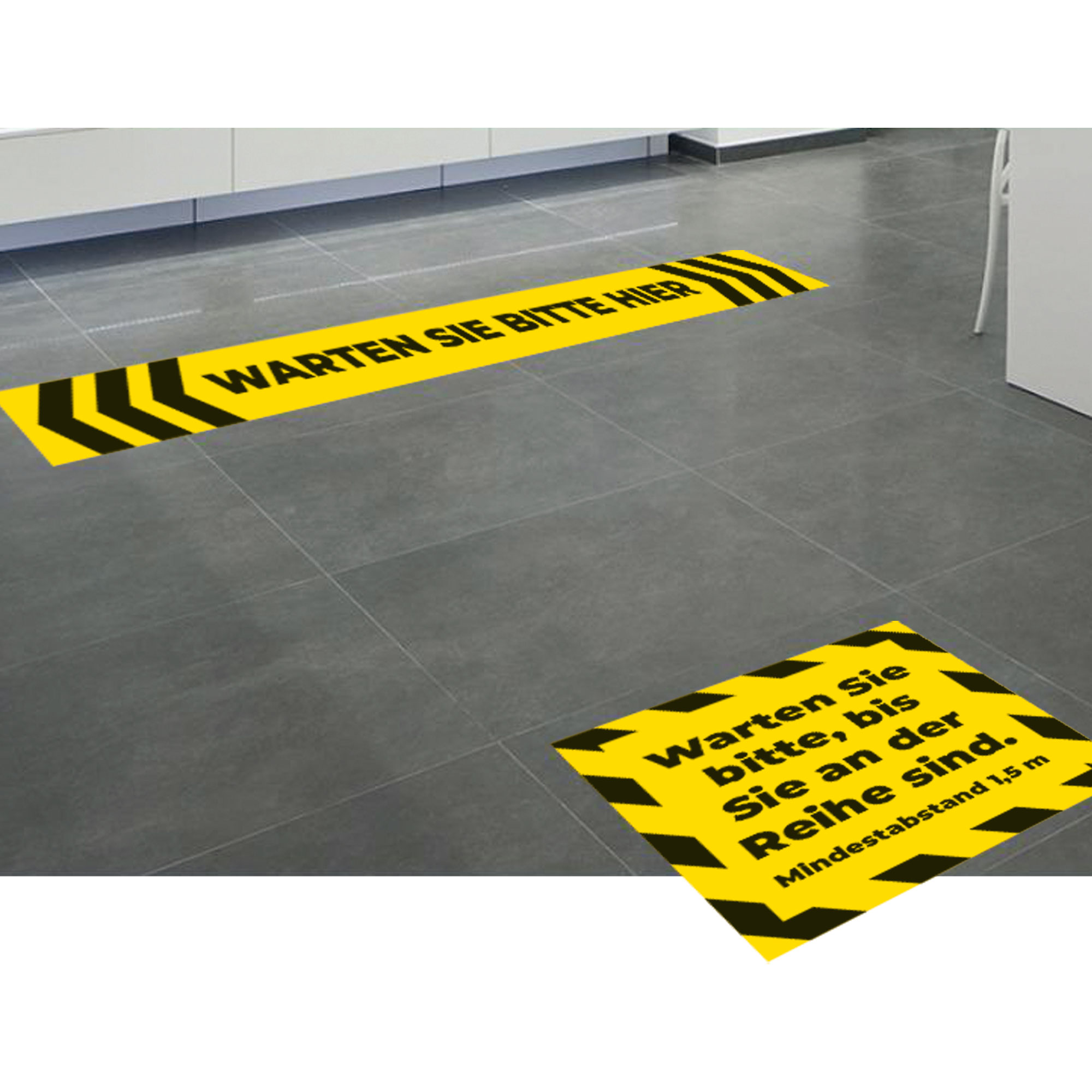 "Fußbodenaufkleber-Set ""Sicherheitsabstand"""