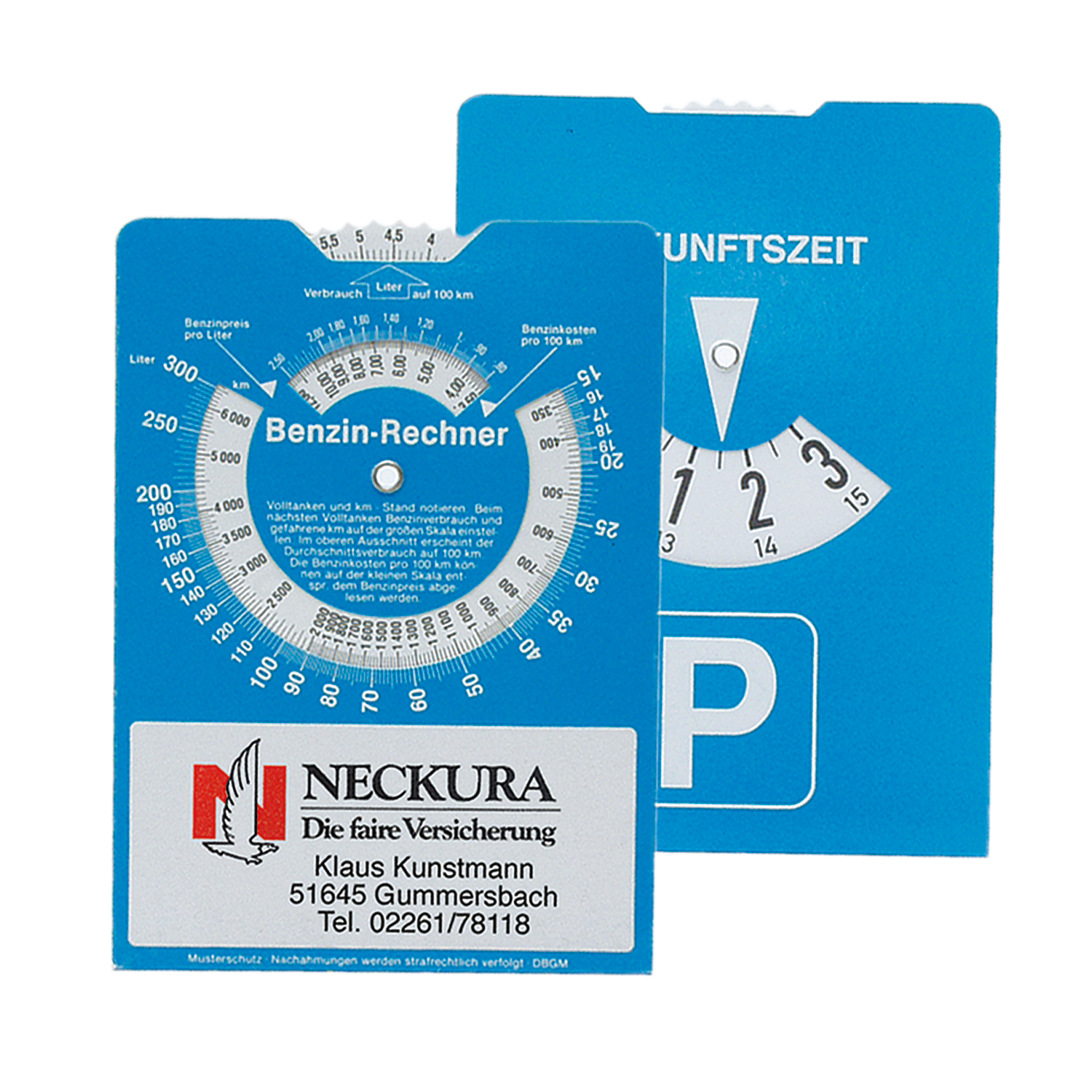 Parking Disc with fuel consumption calculator